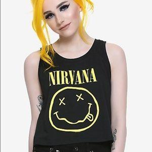 Hot Topic Nirvana Smiley Girls Crop XL